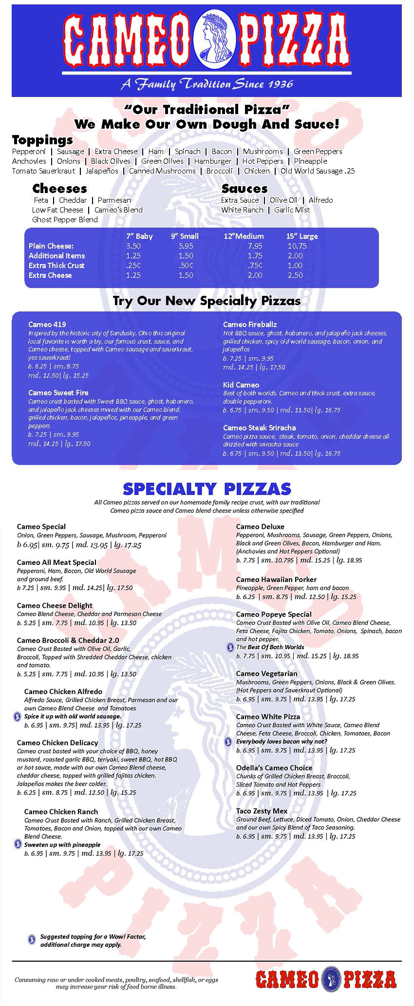 Cameo Pizza Menu Page 1